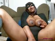 Old black lady play her big size boobs and pussy