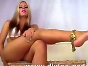 Divine blonde Goddess Jessica gives jerk off instructions