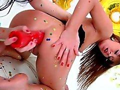 Kinky chicks starting a food sex party with milk enemas