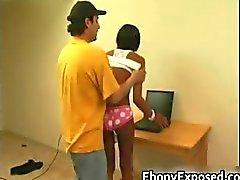 Ebony amateur strips her spankable part1