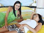 Brunette lesbians undress snatches