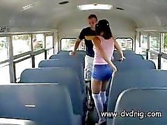 Naughty Little Nympho Ashley Blue Sneaks In The Back Of The Bus For An Afternoon Threesome With The Teacher And Bus Driver And Sucks Their Cocks