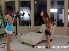 Threesome Tiny latina hotties audition