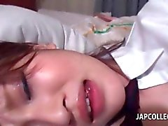 Gorgeous japanese college beauty pussy vibed in bed