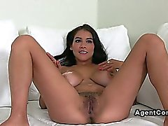 Busty and hairy amateur gets banged on casting