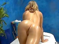 Blonde girl gets fucked in a massage parlor