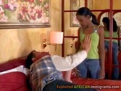 Petite Afro beauty banged in wild 3some