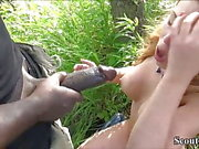 German Redhead Teen Fuck by Monster Black Dick Public