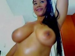 Huge Natural Titted Latina With Braces Fucks Herself On Cam