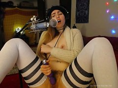 Small titted teen girl in stockings sucking Dick