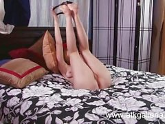 Cute Alaina Fox fucks a huge pink dildo