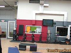 Jizzy teen banged at gym
