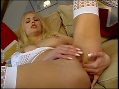 Gorgeous young blond annihilated by two dongs on the couch