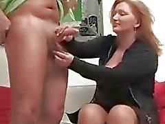 German Mature Woman Jerks off younger guy ...