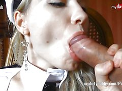 German babe devours this hard cock