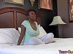 Ebony teeny sperm faced