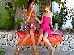 Two russian lesbian schoolgirls dildoing