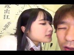 Japanese hottie in uniform stuffed in her tight hairy muff