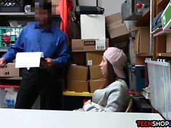 Amateur shoplifter teen busted and then fucked by security