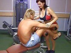 Babe with big tits fucks gym trainer