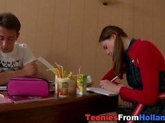 Teens face spunk dripping