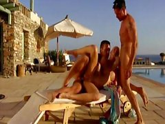 Carla Cox is a cute blonde who gets double penetrated by the pool
