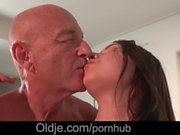 Cutie young girl fucking his much older husband in the kitchen