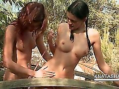 Lesbo Natasha Shy fucking with girlfriend in the garden