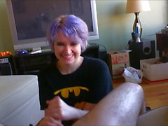 Blue-haired Cutie Handjob