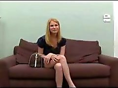 Blonde on the casting couch gets a cock to suck and fuck for tryout
