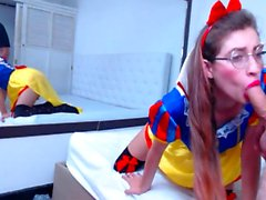 Teen camgirl love black big toys on webcam