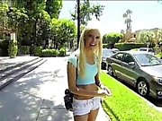 Skinny teen Halle Von nailed on the bed and gets payed