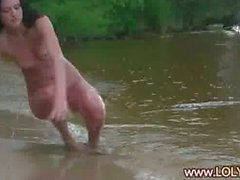 Brunette loly naked by the river