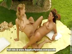 Zoe and Stracy blonde and redhead lesbian chicks doing tits massage