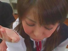 Japanese teens getting facials in school