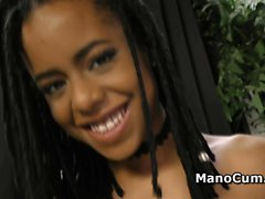 Amazing ebony teen tempts her partner in POV