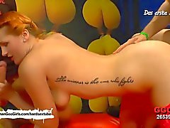Redhead babe Emma moans while fucked hard and jizzed all over