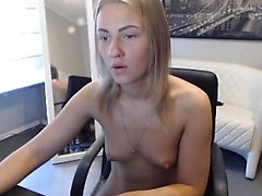 Teen blonde solo fingering to orgasm