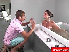 Milf caught masturbating in the bath