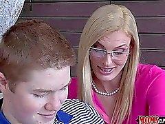 Mature MILF teaches teen boy new tricks