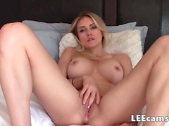 Blonde fake boobs take fake creampie
