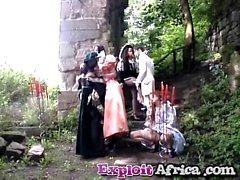 Outdoor African hottie blowjob fucking interracial