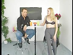 Blonde teen teaches how to play with a dildo