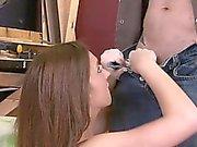 Wild teen on knees swallowing dick