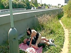Horny dude fucking hot brunette czech teen by the road