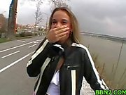 Pigtailed teen poked by POV outdoor