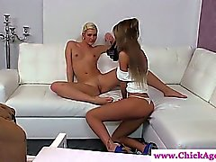 Female porn agent in lesbian auditions