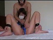 Japanese teen toying her twat