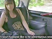 Amateur creampie cumshot in back of taxi
