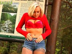 blond babe in pantyhose teasing forest